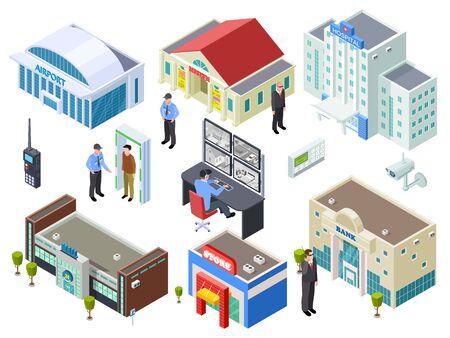 Illustration pour Security system for various public buildings isometric vector collection. Illustration of building isometric, bank and mall, outdoor control - image libre de droit