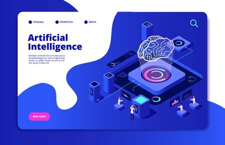 Illustration pour Artificial intelligence concept. Ai smart technology brain networking neural intelligent solutions futuristic landing vector page. Ai intelligence, brain artificial, digital intellect illustration - image libre de droit