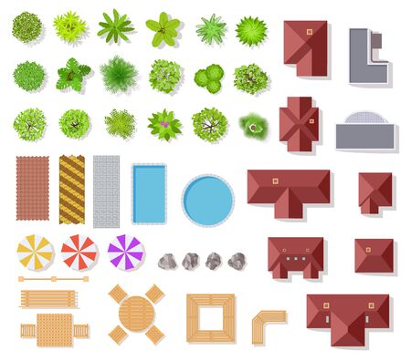 Illustration for Top view garden elements. Aerial houses, green trees and bushes, pool and benches for landscape architectural plan vector items isolated set - Royalty Free Image