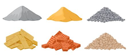 Illustration pour Construction material piles. Gypsum and sand, crushed and stones, red bricks and wooden planks heaps isolated vector set. Industrial plywood, panel and pile of bricks and sand illustration - image libre de droit