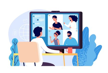 Illustration pour Video conference. People group on computer screen taking with colleague. Video conferencing and online communication vector concept. Illustration of communication screen conference, videoconferencing - image libre de droit