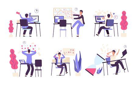 Illustration pour People unorganized. Men fail scheduled task efficiency productivity time management vector concept. Illustration of failure productivity, office businessman fail - image libre de droit