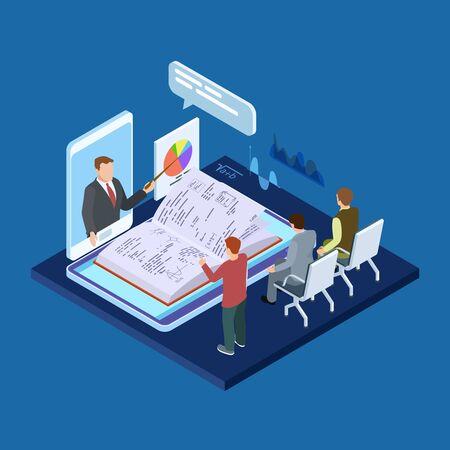 Illustration pour Online business training 3d isometric vector concept. Illustration of online e-learning, web video training - image libre de droit