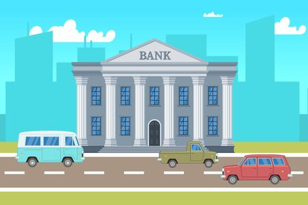 Illustration for City landscape with bank building, cars, skylines silhouettes illustration. Building cityscape, architecture bank , urban town - Royalty Free Image