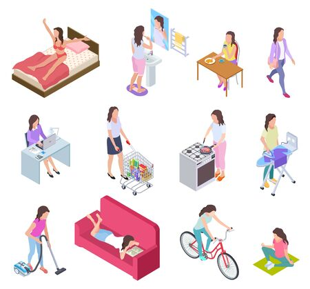 Ilustración de Woman daily routine. Housewife ironing and shopping, doing fitness and cooking. Female everyday lifestyle isometric vector characters. Illustration routine daily activity, girl breakfast, housework - Imagen libre de derechos