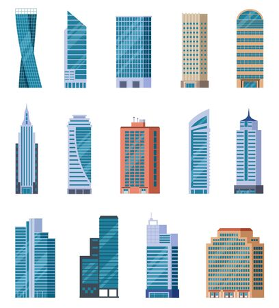 Illustration pour Flat skyscrapers. Exterior of modern city buildings. Residential and business office houses. Downtown facades. Isolated vector set. Illustration building office, urban residential skyscraper - image libre de droit