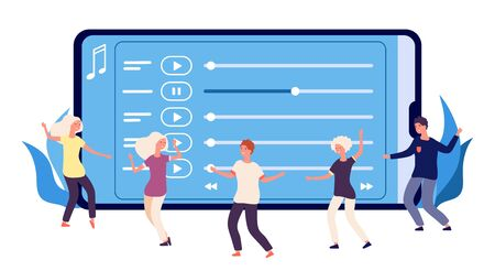 Illustration pour Dance perfomance concept. Flat dancers and online music playlist. Vector happy dancing people characters. Illustration web audio, mobile smartphone multimedia, entertainment media radio online - image libre de droit