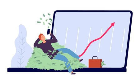 Successful investment. Man makes profit from money invested concept. Flat rich businessman character woth money and laptop vector illustration. Businessman get profit from web business, money growth