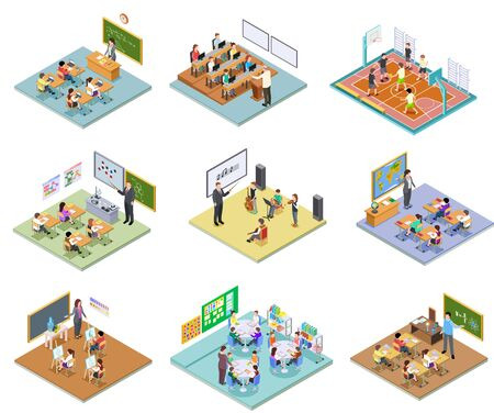 Illustration pour School rooms isometric. Library dining room lecture classroom gym sports hall toilet college university interior furniture 3d vector. Illustration education school room isometric, university interior - image libre de droit