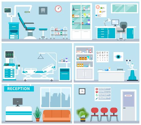Illustration pour Hospital interior. Empty clinical office indoor. Doctor waiting examination room, surgery. Medical hospitalization vector flat concept. Illustration interior hospital and clinic empty - image libre de droit