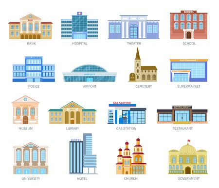 Illustration for Government flat houses. Bank hospital school university airport police library church. Municipal city buildings exterior vector icons. Museum and library, gas station and restaurant illustration - Royalty Free Image