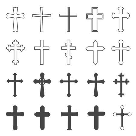 Illustration pour Christian crosses. Decorative crucifix religion catholic symbol, orthodox faith church cross design, isolated flat vector set. Crucifix catholic, orthodox and christian cross illustration - image libre de droit