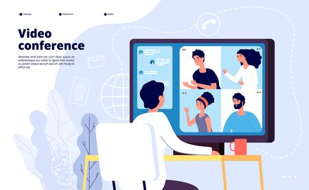 Illustration pour Video conference landing. People on computer screen taking with colleague. Videoconferencing and online meeting workspace vector page. Video conference online, business people illustration - image libre de droit