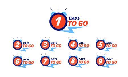 Ilustración de Countdown badges. Days to go sale labels with day left numbers. Product limited promo, big deal offer vector announcement stickers set. Illustration countdown number days to go promotion discount - Imagen libre de derechos