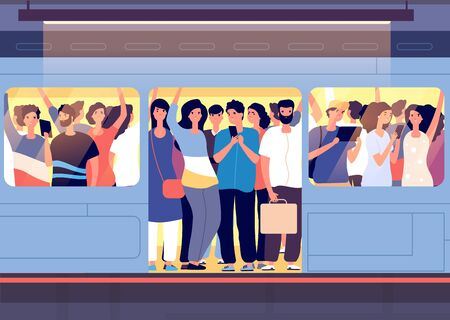 Illustration pour Crowd in subway train. People pushing each other in metro car at station at rush hour. City traveling transport problem vector concept. Crowd public train, transport van with people illustration - image libre de droit