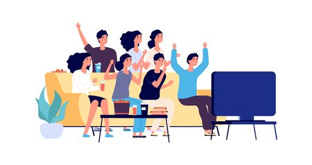 Illustration for Friends watching TV. Students party. Young people, teenagers with fast food and drinks. Vector fans watch match on TV. Illustration tv party watching football, man and woman together - Royalty Free Image