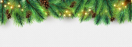 Illustration pour Christmas border. Holiday garland isolated on transparent background. Vector Christmas tree branches, lights and cones. Festive banner design. Christmas branch coniferous garland border illustration - image libre de droit