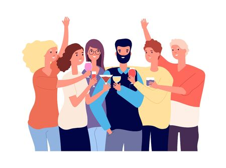 Drinking friends. Group of funny guys clink glasses with alcohol drinks and make toast. Christmas celebration vector flat concept. Illustration happy friend cheers drink alcohol