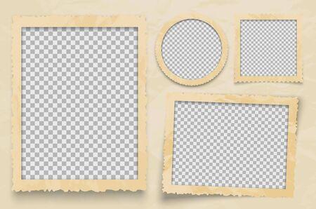 Illustration pour Vintage photo frame. Vector frames template with transparent backdrop. Photo design empty frame for album photography illustration - image libre de droit