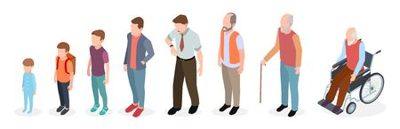 Illustration pour Man generations. Isometric adult, vector male characters, kids, boy, old man, human age evolution. Illustration growing generation, baby to pensioner - image libre de droit