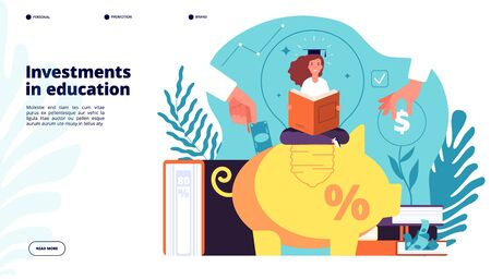 Illustration pour Investments in education. Investment in knowledge learning student, educative credit scholarship, financial business plan vector design. Education school credit, student with scholarship illustration - image libre de droit