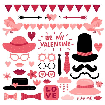 Illustration for Valentines day photo booth props. Pink love wedding scrapbook elements, lips and mustaches. Glasses, tie and red heart vector selfie quotes. Heart props and pink cute valentine photobooth illustration - Royalty Free Image