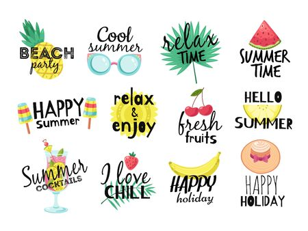 Illustration pour Summer labels. Beach vacation, summer travel graphic with lettering. Cocktail, sun and fresh fruits, ice cream badges vector set. Illustration paradise party label, watermelon and tropical fruits - image libre de droit