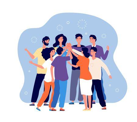 Illustration pour Friends doing high five. Big people team doing high five together, happy friend group, informal greeting, command motivation vector concept. Illustration people friendship high five - image libre de droit