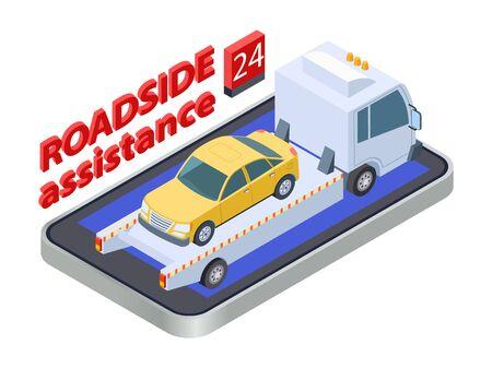 Illustration pour Road assistance concept. Isometric tow truck. Online roadside assistance, car service mobile app. Auto assistance, vehicle service roadside illustration - image libre de droit