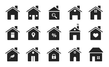 Illustration for Home icons. Black flat homes shapes. Houses silhouettes symbols of homepage, web buttons. Simple style buildings. Vector signs housing illustration real estate silhouette various - Royalty Free Image
