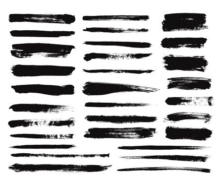 Illustration for Ink brush stroke. Dry paint long smear, black stains. Isolated textured straight lines or art grunge design elements. Vector drawing set. Paint brush, grunge ink stroke illustration - Royalty Free Image