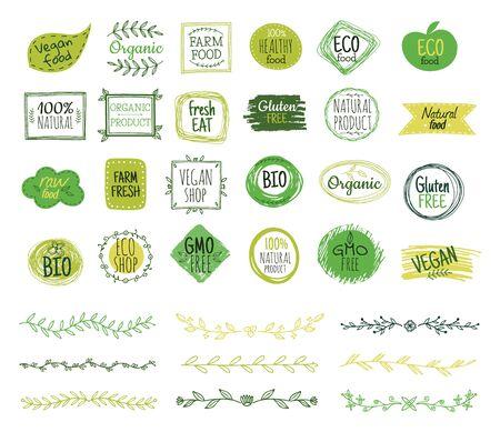 Ilustración de Eco emblems. Organic logo, green leaf borders. Natural fresh food stamps. Doodle branches, nature ornament. Vector healthy products stickers. Healthy botanical eco, organic health sticker illustration - Imagen libre de derechos