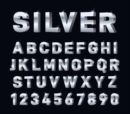Illustration pour Silver font. 3d steel chrome alphabet. Metal letters and numbers, metallic platinum typography decorations. Modern glossy vector symbols. Illustration aluminum character, steel metal platinum typeface - image libre de droit
