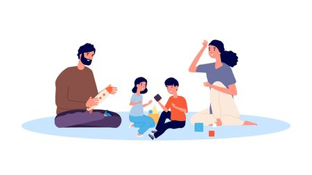 Illustration for Parenthood concept. Happy family playing. Mother father son and daughter vector characters. Mother and father, daughter and son illustration - Royalty Free Image