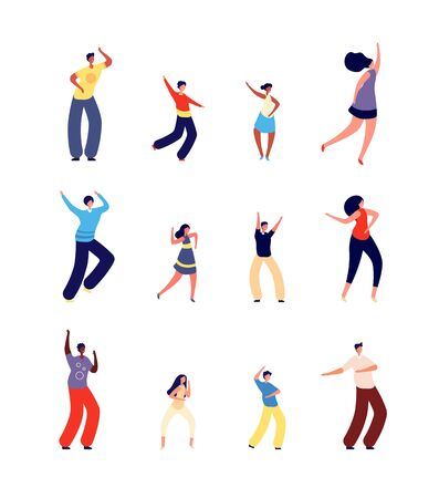 Illustration pour Dancing family. Happy parents dance with children. Isolated fun performance people, dancer character. Mother father kids on disco vector set. Dance family happy, children and parents illustration - image libre de droit