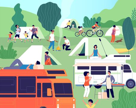Summer camp. Happy diverse people camping on nature. Group friends with kids, trailers and bbq outdoor vacation. Tourism vector illustration. People outdoor landscape recreation and adventure
