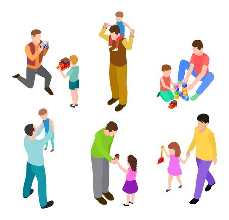 Illustration pour Fathers and kids. Isometric joint activity of dads and children. Vector men and kids playing. Dad or father with son isometric, children kid boy happy illustration - image libre de droit