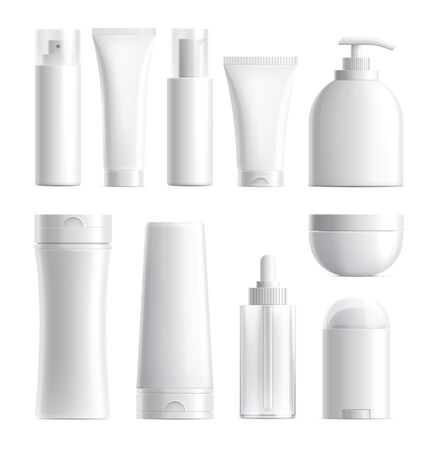 Illustration pour Cosmetics package. Isolated bottle mockup. Realistic blank beauty products plastic glass container. 3d skin care tube cream jar vector set. Cosmetic cream, tube product mockup, container illustration - image libre de droit