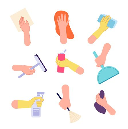 Hand cleaning. Hands watering, holding spray bottle brush sanitary wipes. Isolated housework icons with detergent tools vector illustration. Hand with cleaner tools, spray equipment