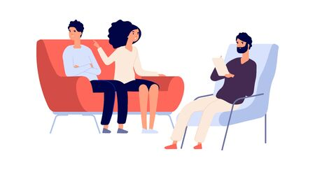 Illustration pour Family psychotherapy session. Psychotherapist talking with partners. Flat woman angry at man. People on sofa and psychologist vector illustration. Therapy for couple marriage, therapist mental session - image libre de droit