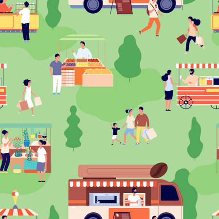 Illustration pour Food market pattern. People buy farm goods, counters with craft products. Summer outdoor festive activity background. Street shop vector seamless pattern. Outdoor sale park, illustration food street - image libre de droit