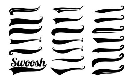 Illustration pour Swoosh tails. Swirl sport typography element, isolated curly text pennants. Black retro calligraphy strokes or ornament designs vector set. Curve swash drawn, scroll ornament calligraphic illustration - image libre de droit