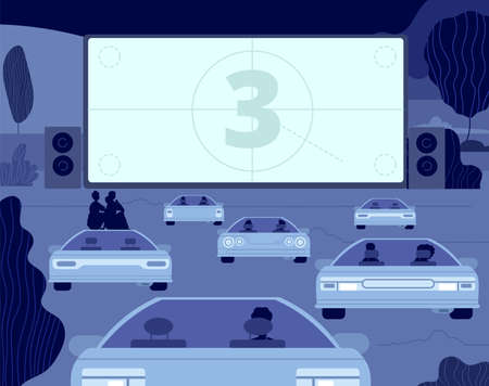 Illustration pour Car cinema. Large kino theater, outside drive movie scene. Audience in autos, open sky entertainment. Couple night relax vector illustration. Entertainment car movie, theater cinema in air - image libre de droit