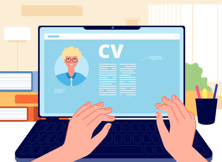 Illustration for Online CV. Young man writing job application on laptop. HR concept, searching job in internet. Career start, hands working on computer vector illustration. Internet online, hr employee, write cv - Royalty Free Image