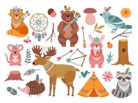 Photo pour Woodland cute animal. Tribal fox, forest adventure child animals. Little bear brave deer, feather arrow for baby nursery vector illustration. Fox tribal woodland, forest wildlife, animal ethnic - image libre de droit