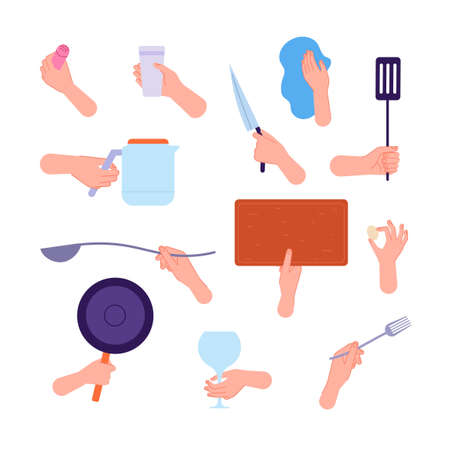 Illustration pour Hands hold kitchen tools. Woman hand holding knife, spoon fork and cutlery. People cooking, clean utensils in arms utter vector collection - image libre de droit