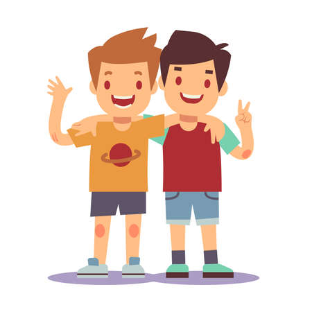 Illustration for Two boys hugging, best friends, happy smiling kids vector illustration. Happy friends boys isolated on white backgorund - Royalty Free Image