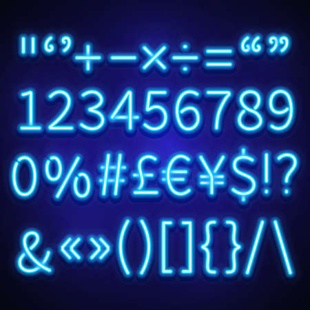 Illustration pour Glowing neon numbers, text symbols and currency signs vector typeset, font. Neon signs of currency dollar and euro, brackets neon and symbol percentage illustration - image libre de droit