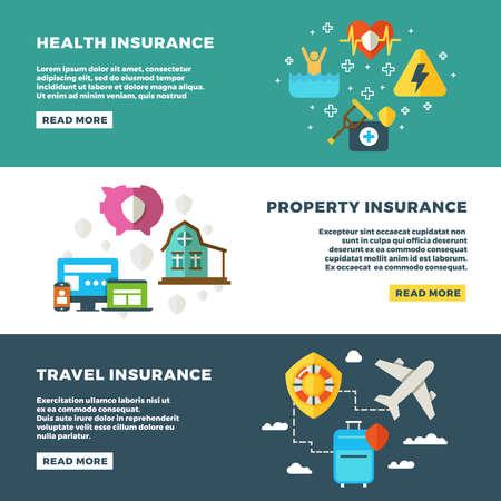 Illustration pour Business insurance, banking services and safety vector banners set. Insurance banners, illustration of protection and insurance service concept - image libre de droit