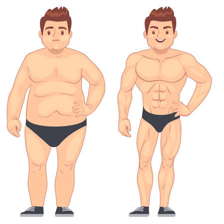 Illustration pour Cartoon muscular and fat man, guy before and after sports. weight loss and diet vector lifestyle concept. Body male muscle and overweight body illustration - image libre de droit
